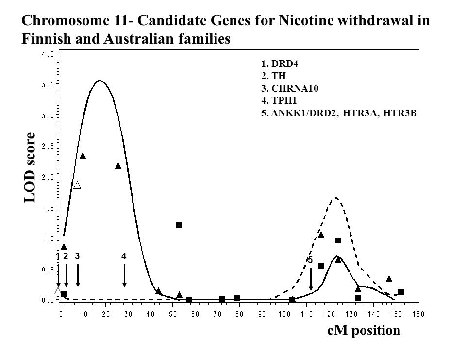 Chromosome 11- Nicotine Withdrawal LOD score cM position Finnish Australian Chromosome 11- Candidate Genes for Nicotine withdrawal in Finnish and Australian families 1.
