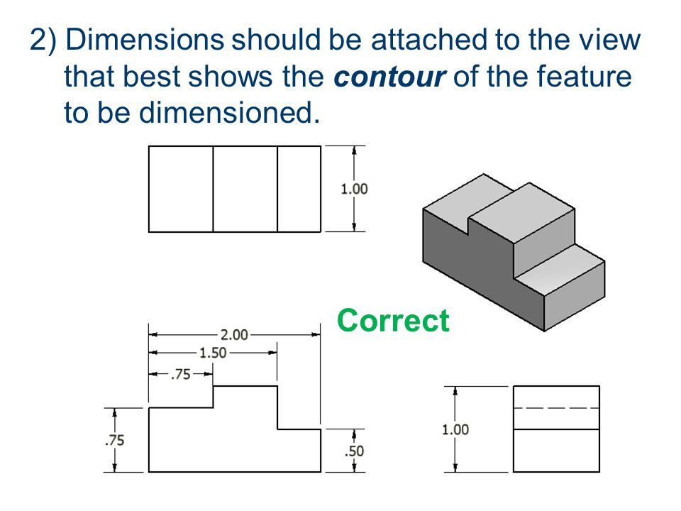 2) Dimensions should be attached to the view that best shows the contour of the feature to be dimensioned. Correct