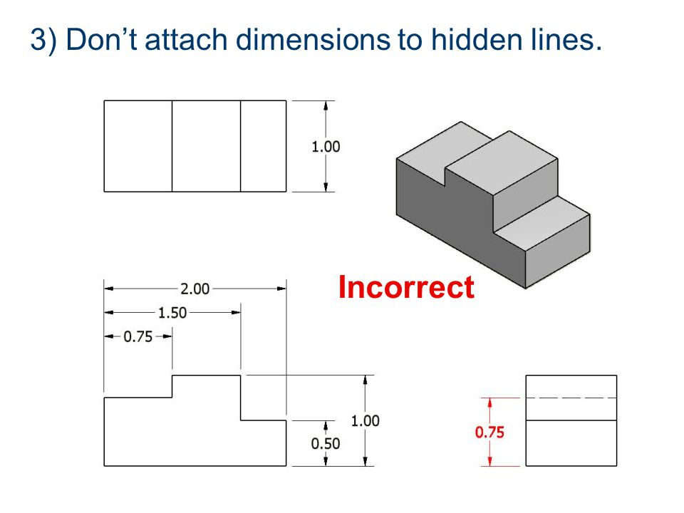 3) Don't attach dimensions to hidden lines. Incorrect