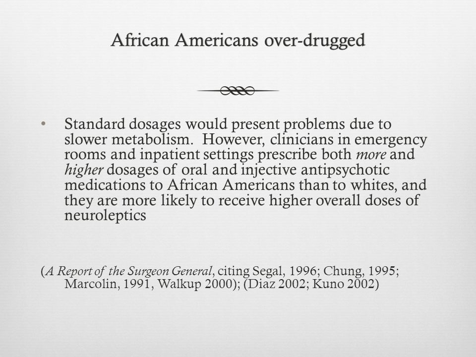 African Americans over-druggedAfrican Americans over-drugged Standard dosages would present problems due to slower metabolism.