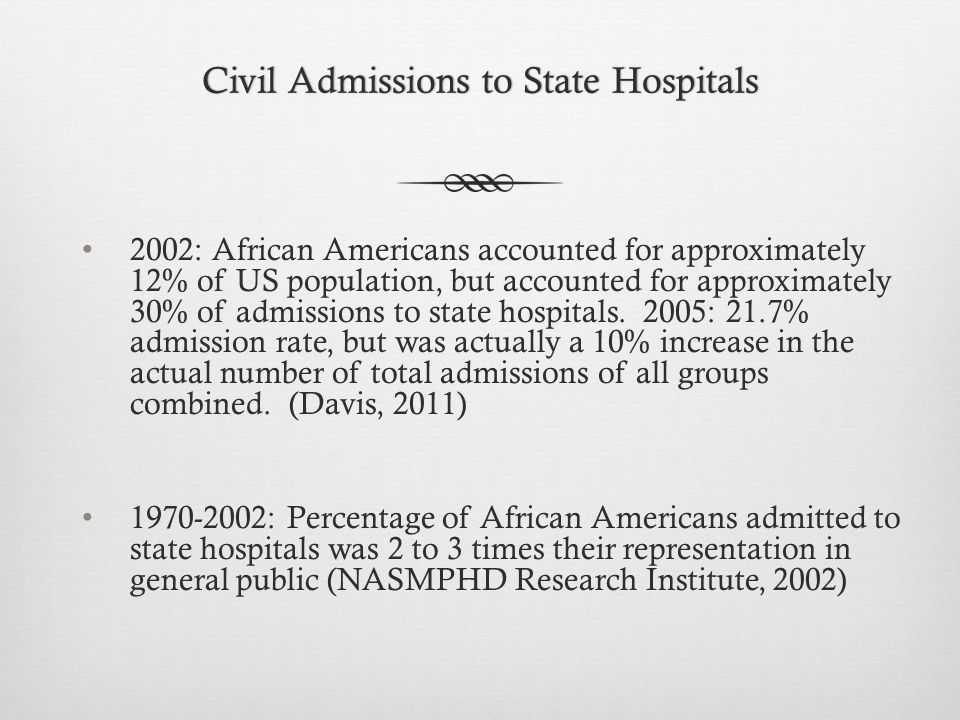 Civil Admissions to State HospitalsCivil Admissions to State Hospitals 2002: African Americans accounted for approximately 12% of US population, but accounted for approximately 30% of admissions to state hospitals.