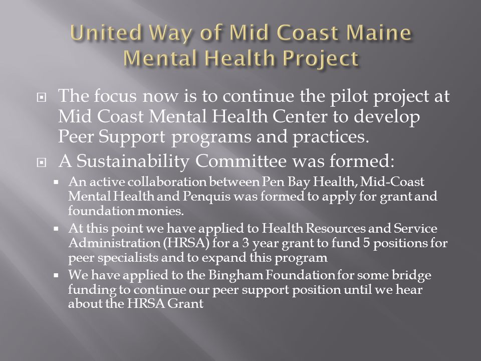  The focus now is to continue the pilot project at Mid Coast Mental Health Center to develop Peer Support programs and practices.