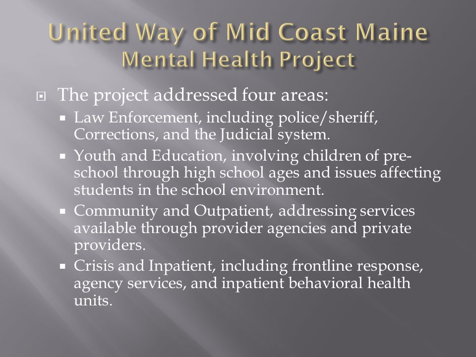  The project addressed four areas:  Law Enforcement, including police/sheriff, Corrections, and the Judicial system.