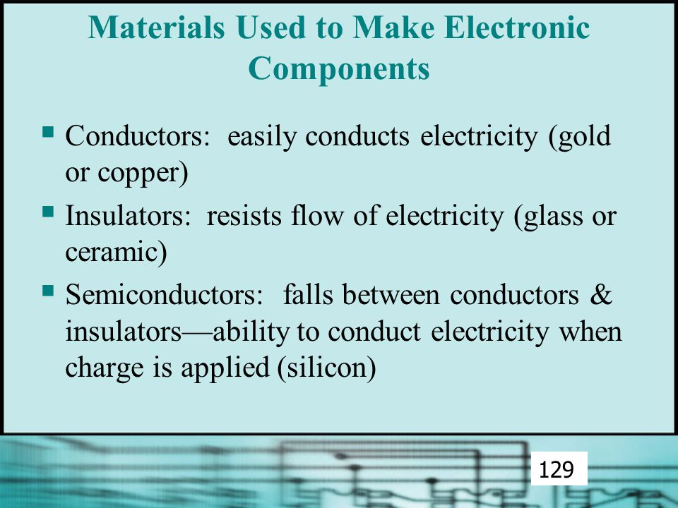 Materials Used to Make Electronic Components  Conductors: easily conducts electricity (gold or copper)  Insulators: resists flow of electricity (glass or ceramic)  Semiconductors: falls between conductors & insulators—ability to conduct electricity when charge is applied (silicon) 129