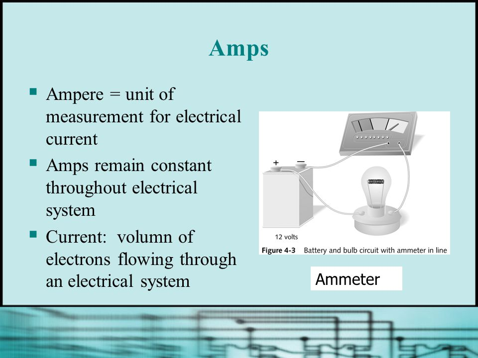 Amps  Ampere = unit of measurement for electrical current  Amps remain constant throughout electrical system  Current: volumn of electrons flowing through an electrical system Ammeter