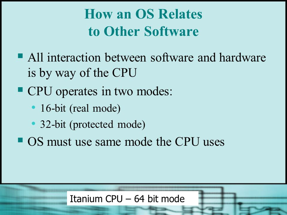 How an OS Relates to Other Software  All interaction between software and hardware is by way of the CPU  CPU operates in two modes: 16-bit (real mode) 32-bit (protected mode)  OS must use same mode the CPU uses Itanium CPU – 64 bit mode