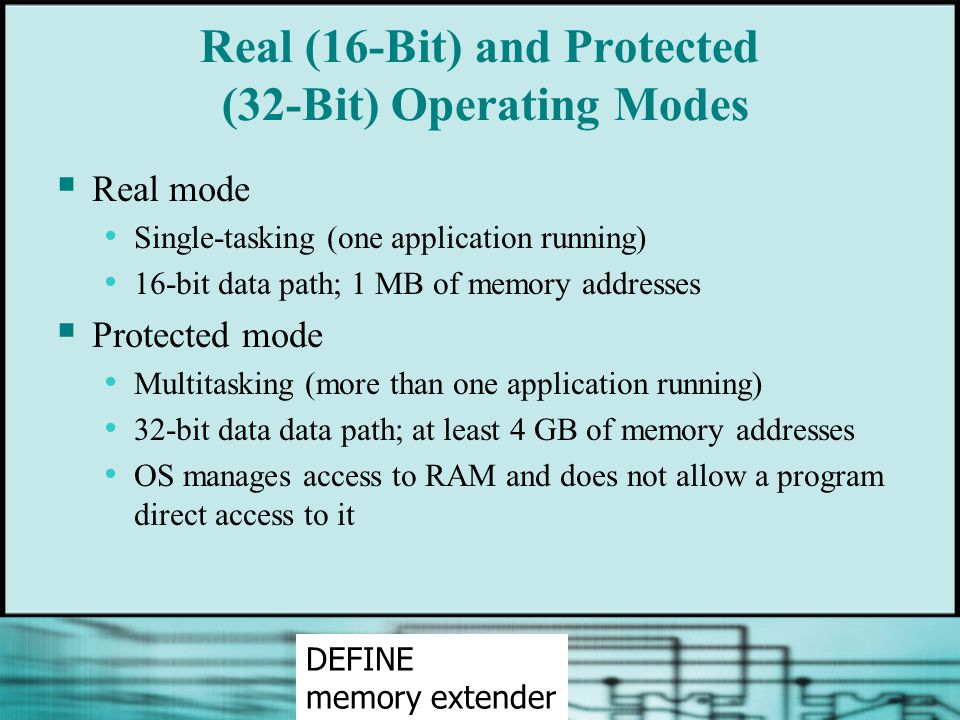Real (16-Bit) and Protected (32-Bit) Operating Modes  Real mode Single-tasking (one application running) 16-bit data path; 1 MB of memory addresses 