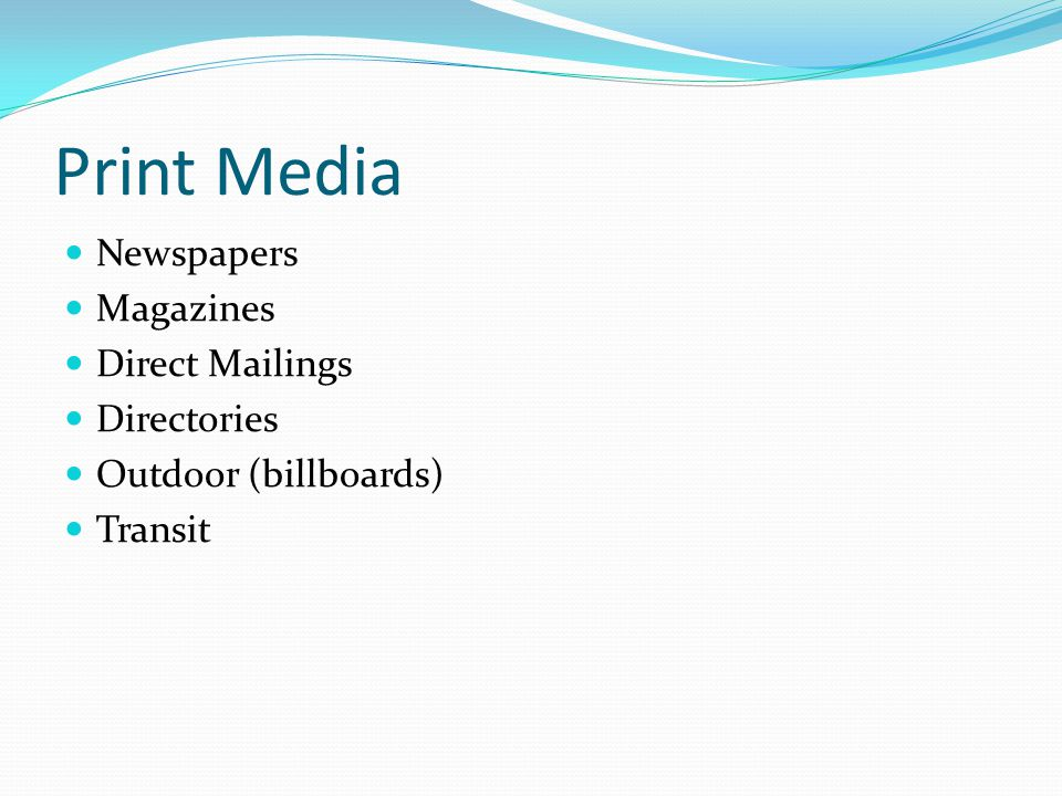 Types of Advertising Media Print Broadcast Specialty