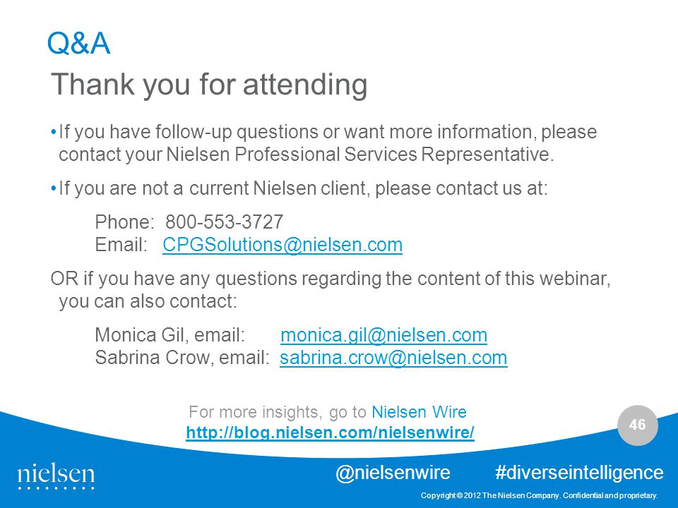 46 Copyright © 2012 The Nielsen Company.Confidential and proprietary.