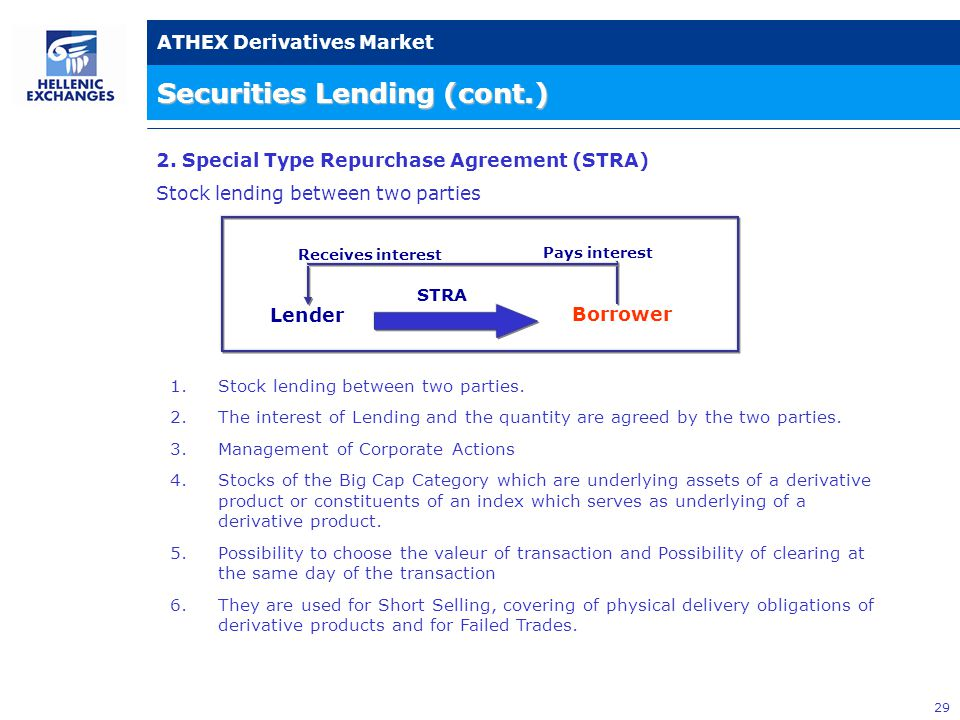 29 ATHEX Derivatives Market Securities Lending (cont.) Lender Pays interest Receives interest STRA 2.