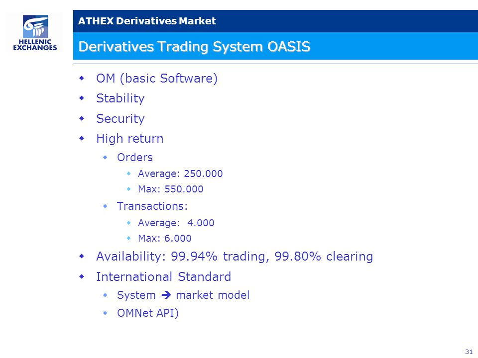 31 ATHEX Derivatives Market Derivatives Trading System OASIS  ΟΜ (basic Software)  Stability  Security  High return  Orders  Average: 250.000  Max: 550.000  Transactions:  Average: 4.000  Max: 6.000  Availability: 99.94% trading, 99.80% clearing  International Standard  System  market model  OMNet API)