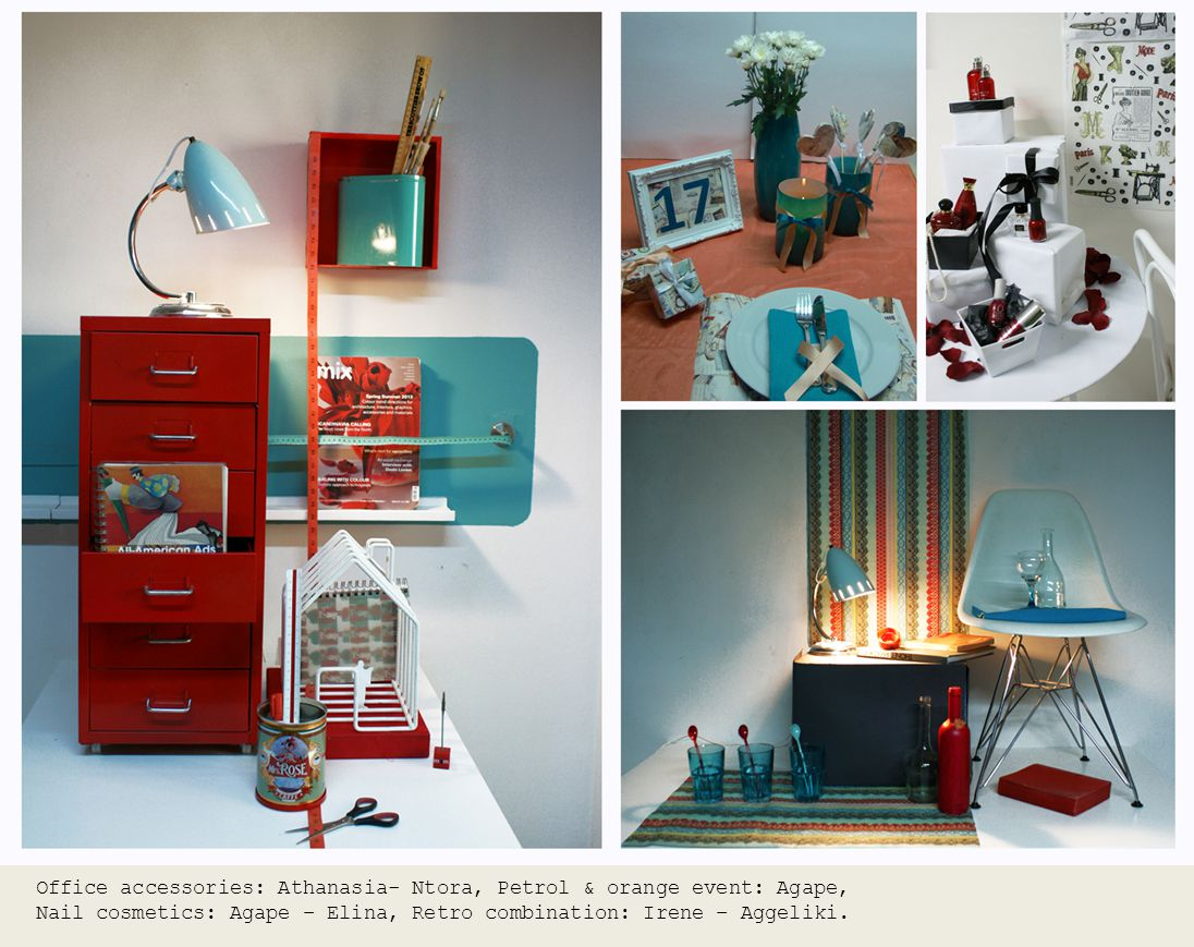 Office accessories: Athanasia- Ntora, Petrol & orange event: Agape, Nail cosmetics: Agape – Elina, Retro combination: Irene – Aggeliki.