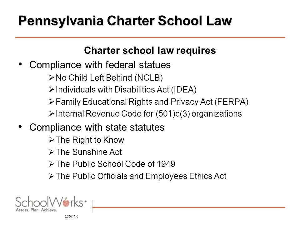 © 2013 Pennsylvania Charter School Law Charter school law requires Compliance with federal statues  No Child Left Behind (NCLB)  Individuals with Disabilities Act (IDEA)  Family Educational Rights and Privacy Act (FERPA)  Internal Revenue Code for (501)c(3) organizations Compliance with state statutes  The Right to Know  The Sunshine Act  The Public School Code of 1949  The Public Officials and Employees Ethics Act