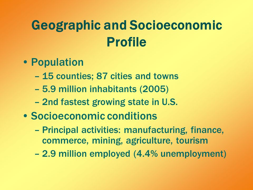 Geographic and Socioeconomic Profile Population –15 counties; 87 cities and towns –5.9 million inhabitants (2005) –2nd fastest growing state in U.S.