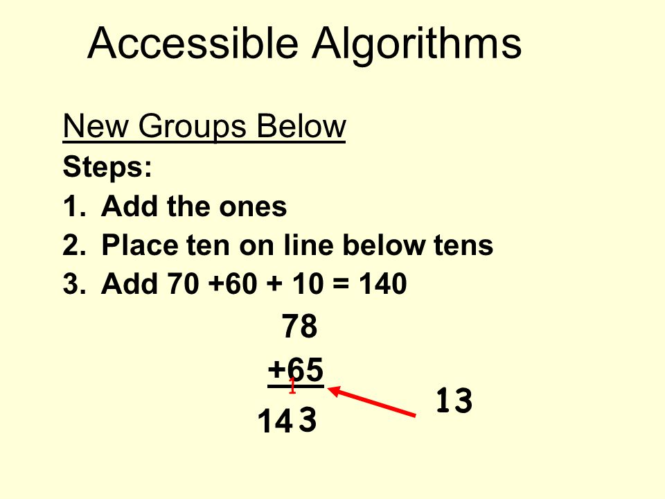 Accessible Algorithms New Groups Below Steps: 1.Add the ones 2.Place ten on line below tens 3.Add 70 +60 + 10 = 140 78 +65 1 3 13 14
