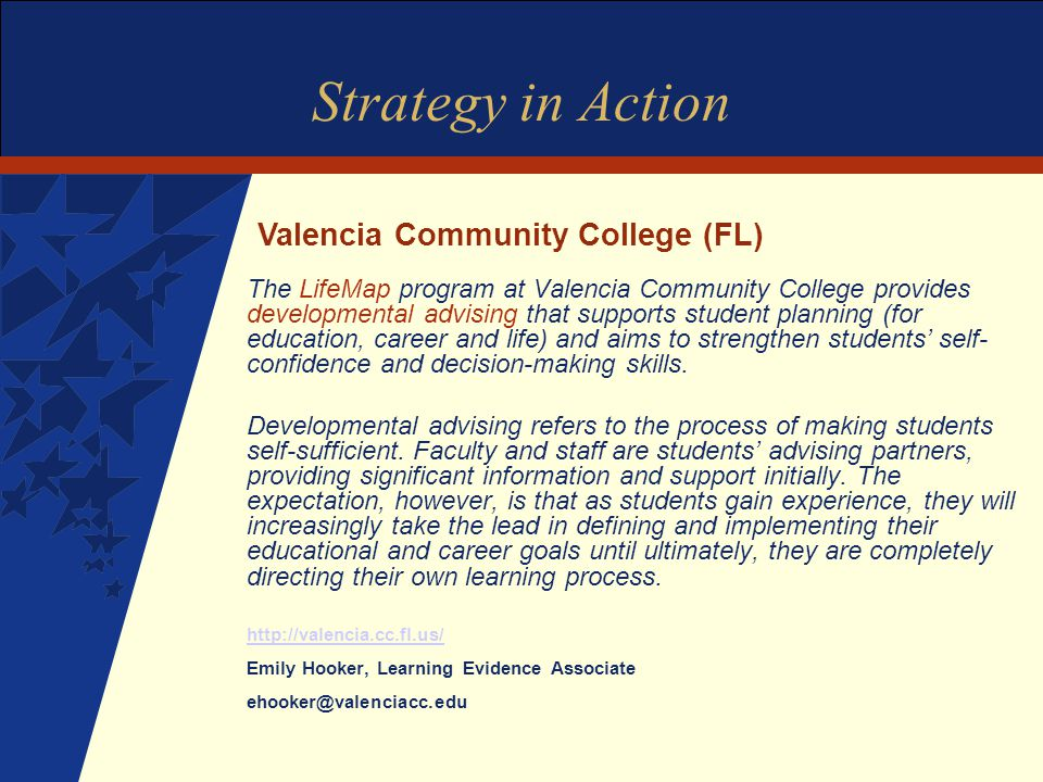 Strategy in Action The LifeMap program at Valencia Community College provides developmental advising that supports student planning (for education, career and life) and aims to strengthen students' self- confidence and decision-making skills.