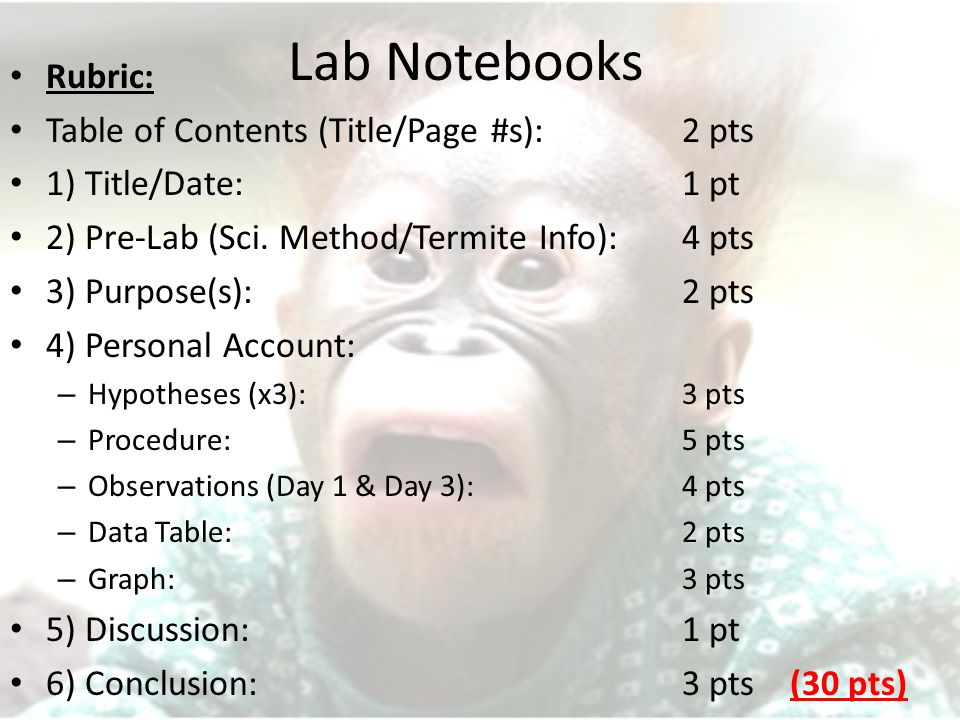 Lab Notebooks Rubric: Table of Contents (Title/Page #s):2 pts 1) Title/Date:1 pt 2) Pre-Lab (Sci.