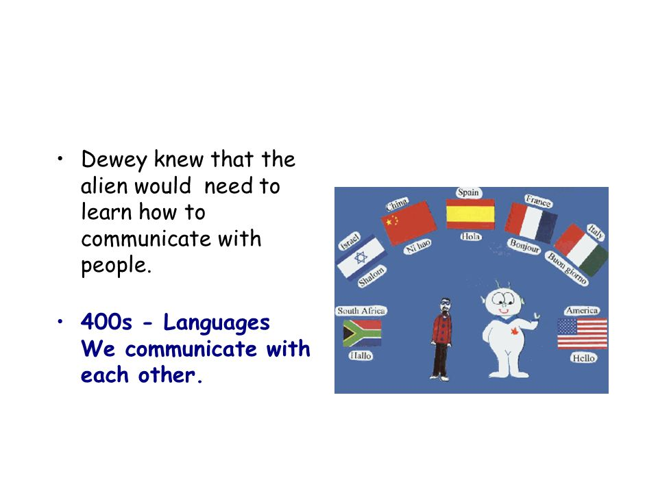 Dewey knew that the alien would need to learn how to communicate with people.