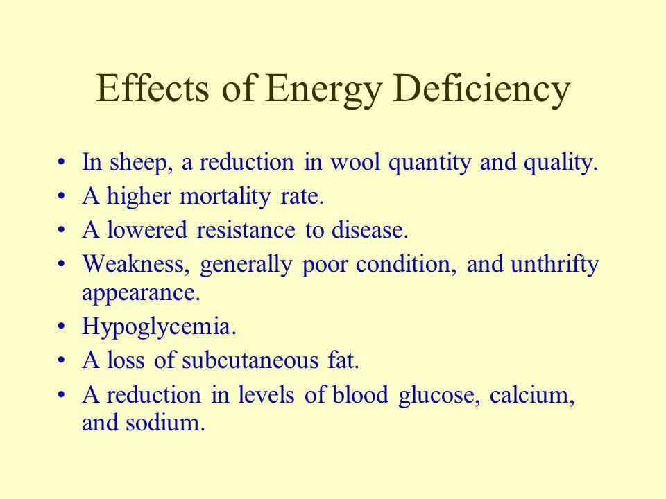 Effects of Energy Deficiency Slow growth of young. A delay in the onset of puberty. A decrease in milk yield in lactating females. A shortened lactati