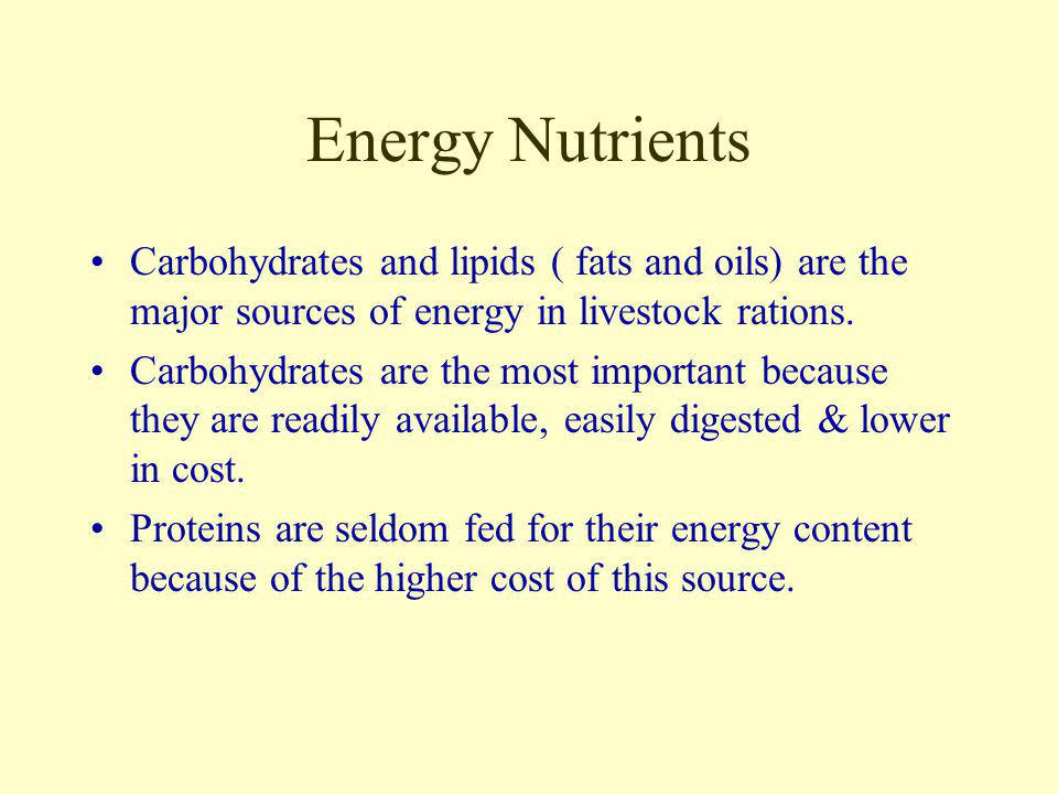 Energy Nutrients Carbohydrates and lipids ( fats and oils) are the major sources of energy in livestock rations.