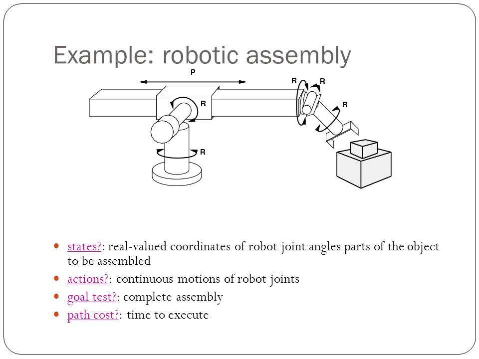 Example: robotic assembly states : real-valued coordinates of robot joint angles parts of the object to be assembled actions : continuous motions of robot joints goal test : complete assembly path cost : time to execute
