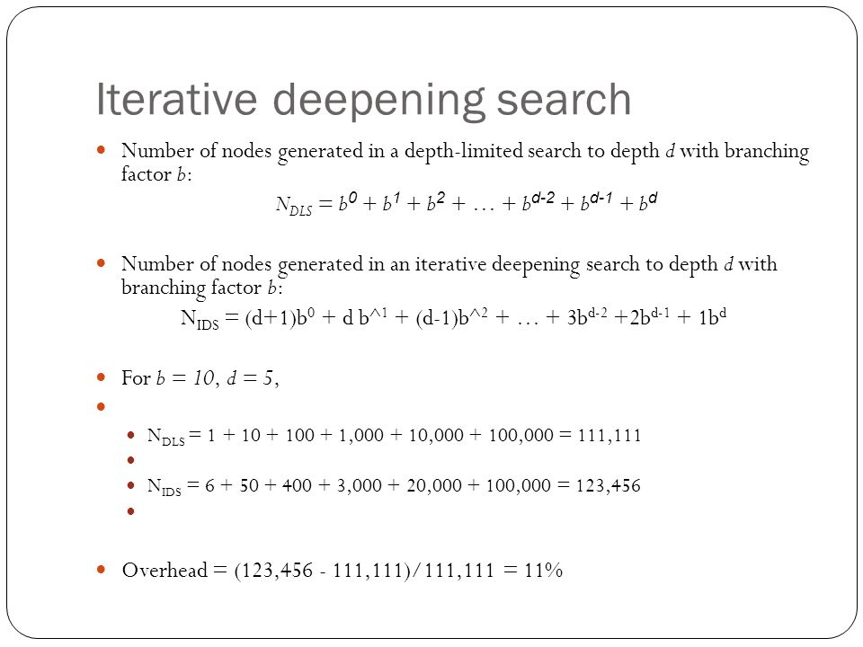 Iterative deepening search Number of nodes generated in a depth-limited search to depth d with branching factor b: N DLS = b 0 + b 1 + b 2 + … + b d-2 + b d-1 + b d Number of nodes generated in an iterative deepening search to depth d with branching factor b: N IDS = (d+1)b 0 + d b^ 1 + (d-1)b^ 2 + … + 3b d-2 +2b d-1 + 1b d For b = 10, d = 5, N DLS = 1 + 10 + 100 + 1,000 + 10,000 + 100,000 = 111,111 N IDS = 6 + 50 + 400 + 3,000 + 20,000 + 100,000 = 123,456 Overhead = (123,456 - 111,111)/111,111 = 11%