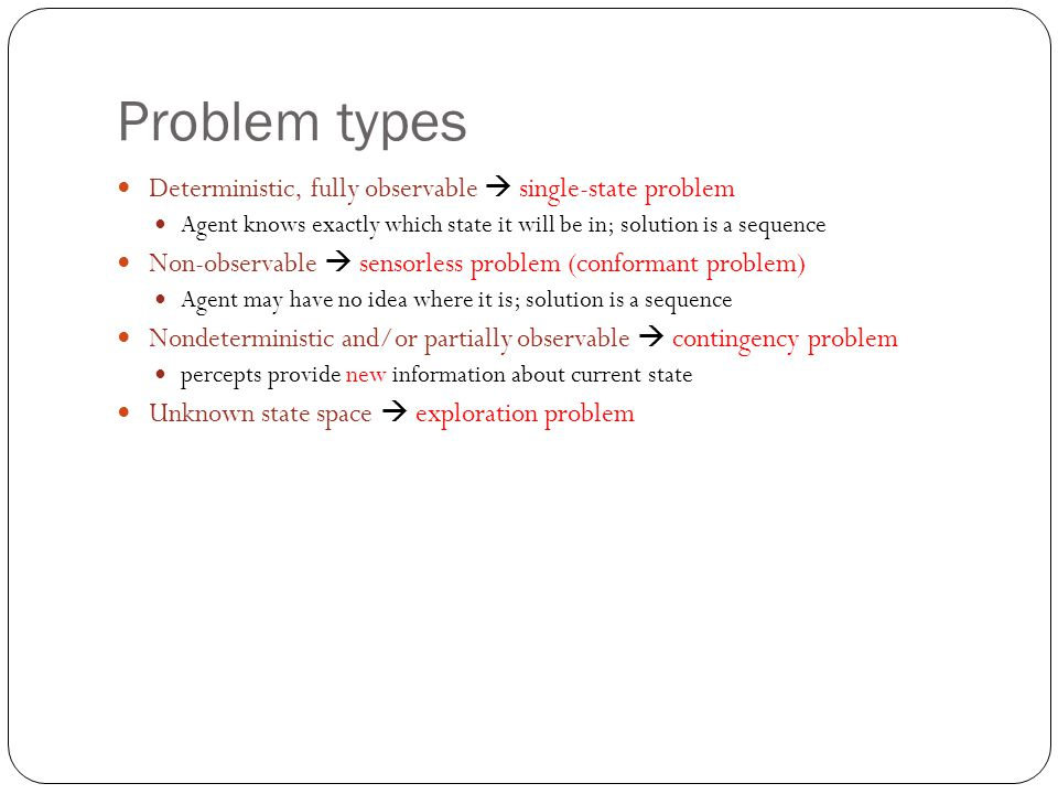 Problem types Deterministic, fully observable  single-state problem Agent knows exactly which state it will be in; solution is a sequence Non-observable  sensorless problem (conformant problem) Agent may have no idea where it is; solution is a sequence Nondeterministic and/or partially observable  contingency problem percepts provide new information about current state Unknown state space  exploration problem
