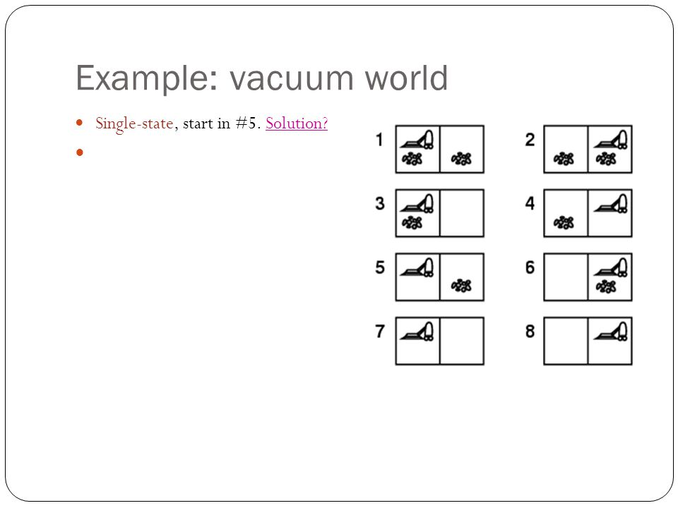 Example: vacuum world Single-state, start in #5. Solution