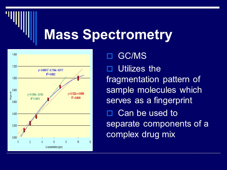 Mass Spectrometry  GC/MS  Utilizes the fragmentation pattern of sample molecules which serves as a fingerprint  Can be used to separate components