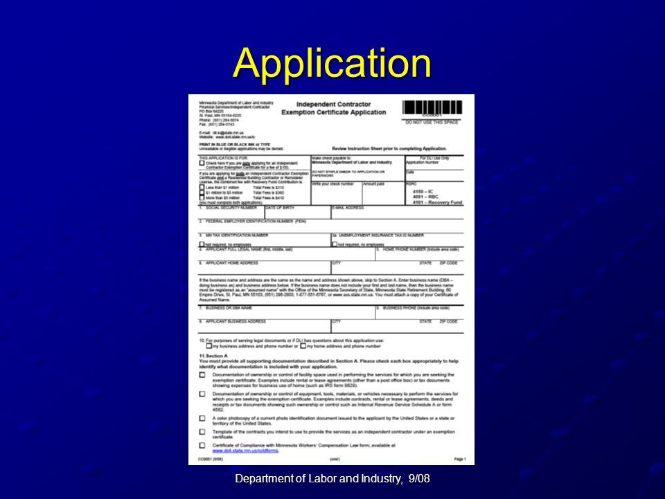 Department of Labor and Industry, 9/08 Application