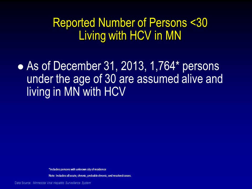 Data Source: Minnesota Viral Hepatitis Surveillance System Reported Number of Persons <30 Living with HCV in MN As of December 31, 2013, 1,764* persons under the age of 30 are assumed alive and living in MN with HCV *Includes persons with unknown city of residence Note: Includes all acute, chronic, probable chronic, and resolved cases.