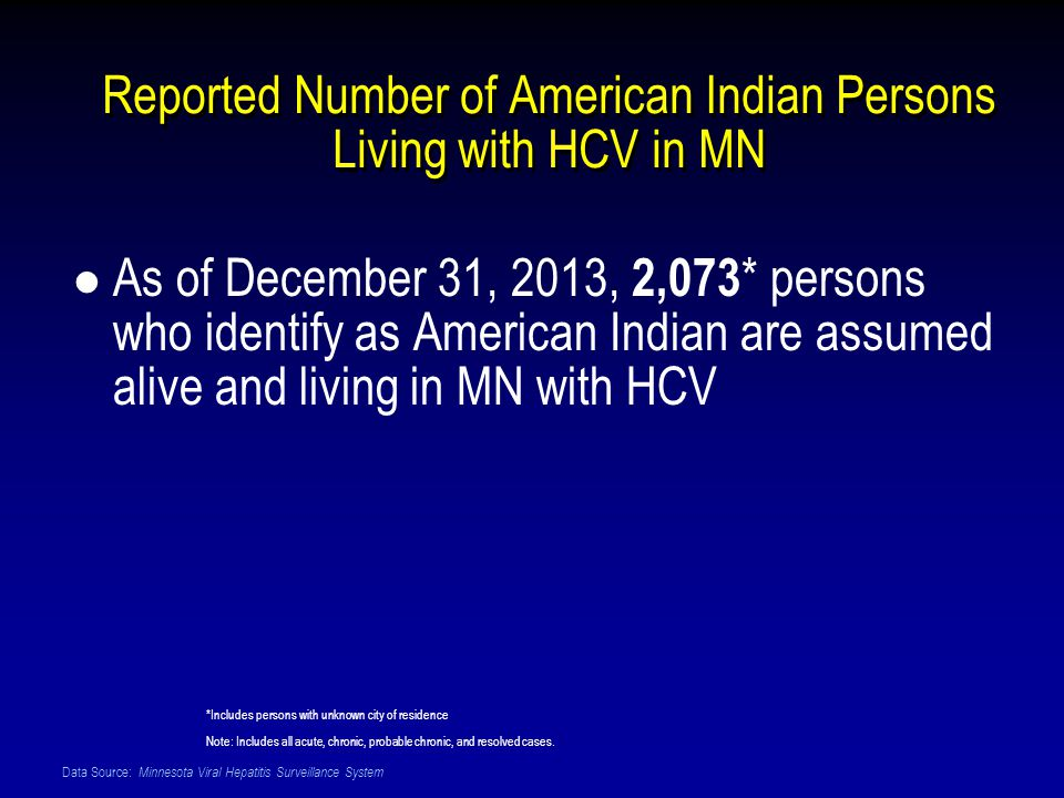 Data Source: Minnesota Viral Hepatitis Surveillance System Reported Number of American Indian Persons Living with HCV in MN As of December 31, 2013, 2