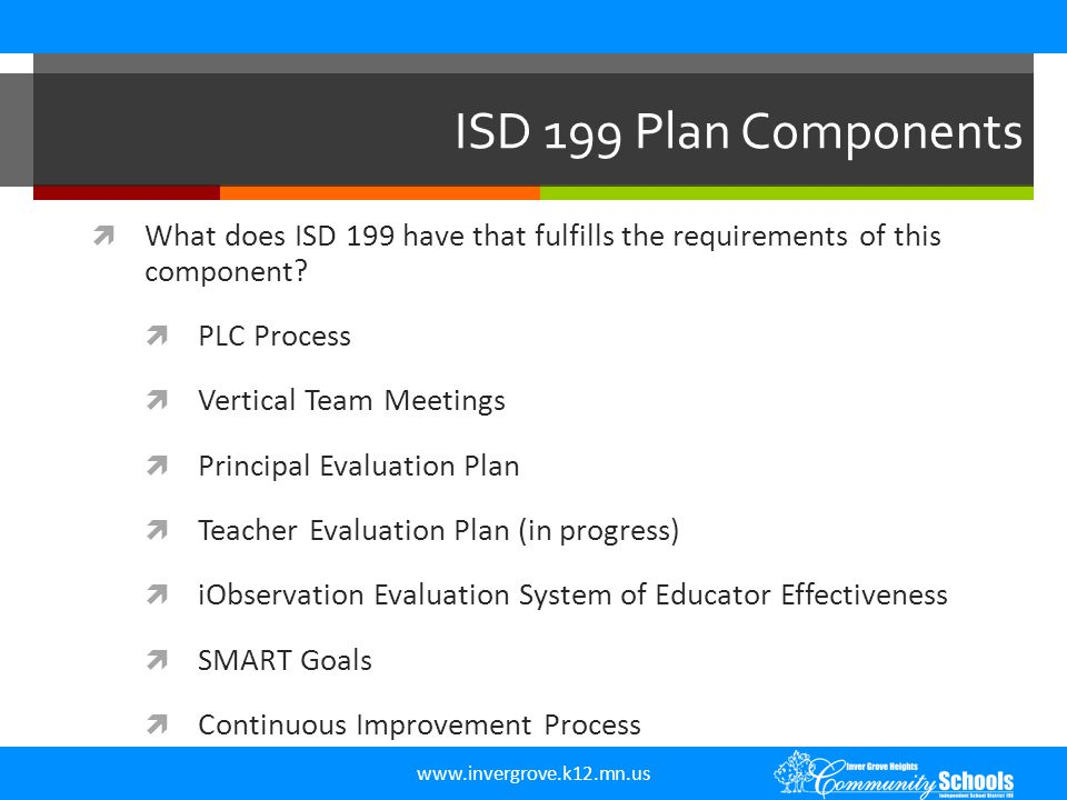 www.invergrove.k12.mn.us ISD 199 Plan Components  What does ISD 199 have that fulfills the requirements of this component?  PLC Process  Vertical T