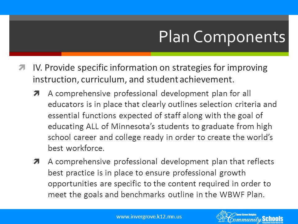 www.invergrove.k12.mn.us Plan Components  IV. Provide specific information on strategies for improving instruction, curriculum, and student achieveme