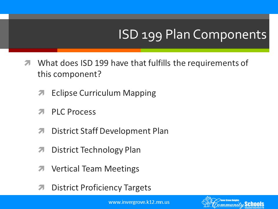 www.invergrove.k12.mn.us ISD 199 Plan Components  What does ISD 199 have that fulfills the requirements of this component?  Eclipse Curriculum Mappi