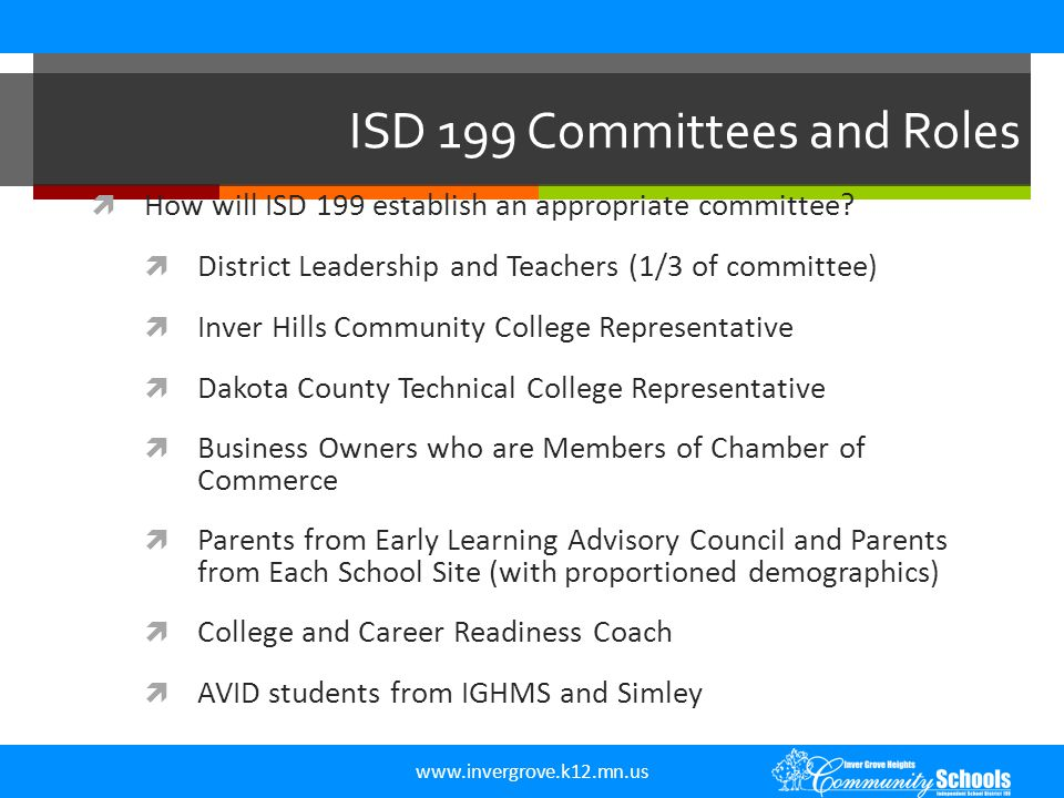 www.invergrove.k12.mn.us ISD 199 Committees and Roles  How will ISD 199 establish an appropriate committee?  District Leadership and Teachers (1/3 o