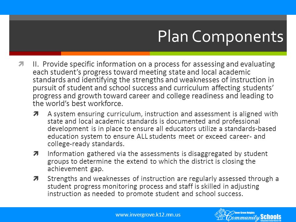 www.invergrove.k12.mn.us ISD 199 Plan Components  What does ISD 199 have that fulfills the requirements of this component.