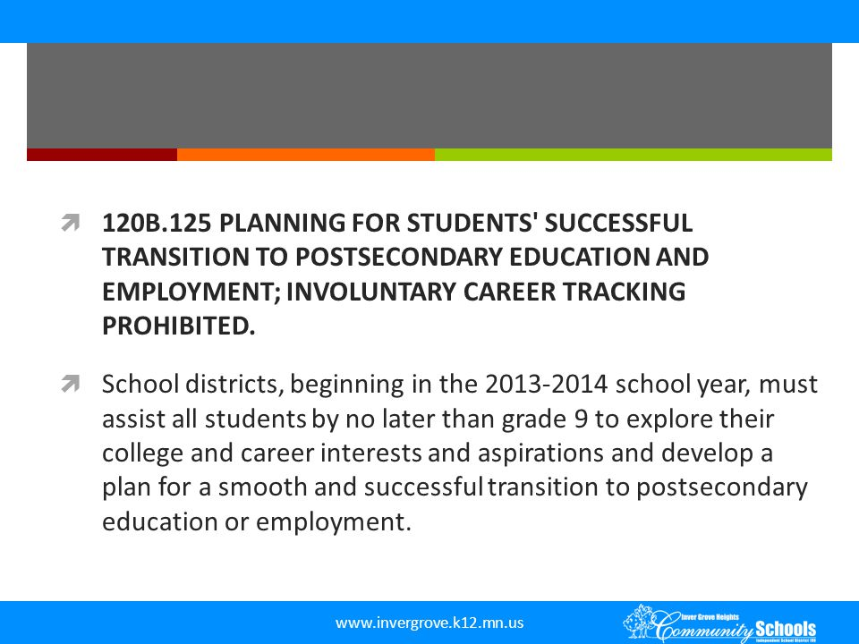  120B.125 PLANNING FOR STUDENTS' SUCCESSFUL TRANSITION TO POSTSECONDARY EDUCATION AND EMPLOYMENT; INVOLUNTARY CAREER TRACKING PROHIBITED.  School di