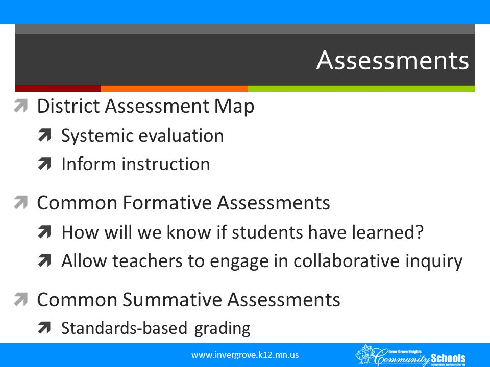 www.invergrove.k12.mn.us  District Assessment Map  Systemic evaluation  Inform instruction  Common Formative Assessments  How will we know if stu