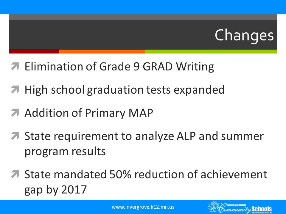 www.invergrove.k12.mn.us Changes  Elimination of Grade 9 GRAD Writing  High school graduation tests expanded  Addition of Primary MAP  State requi