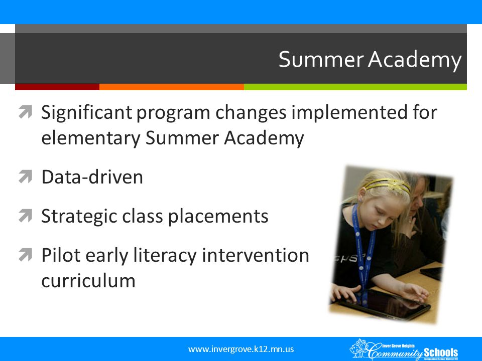 www.invergrove.k12.mn.us Summer Academy  Significant program changes implemented for elementary Summer Academy  Data-driven  Strategic class placem