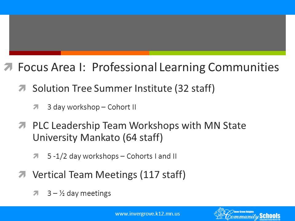  Focus Area I: Professional Learning Communities  Solution Tree Summer Institute (32 staff)  3 day workshop – Cohort II  PLC Leadership Team Works