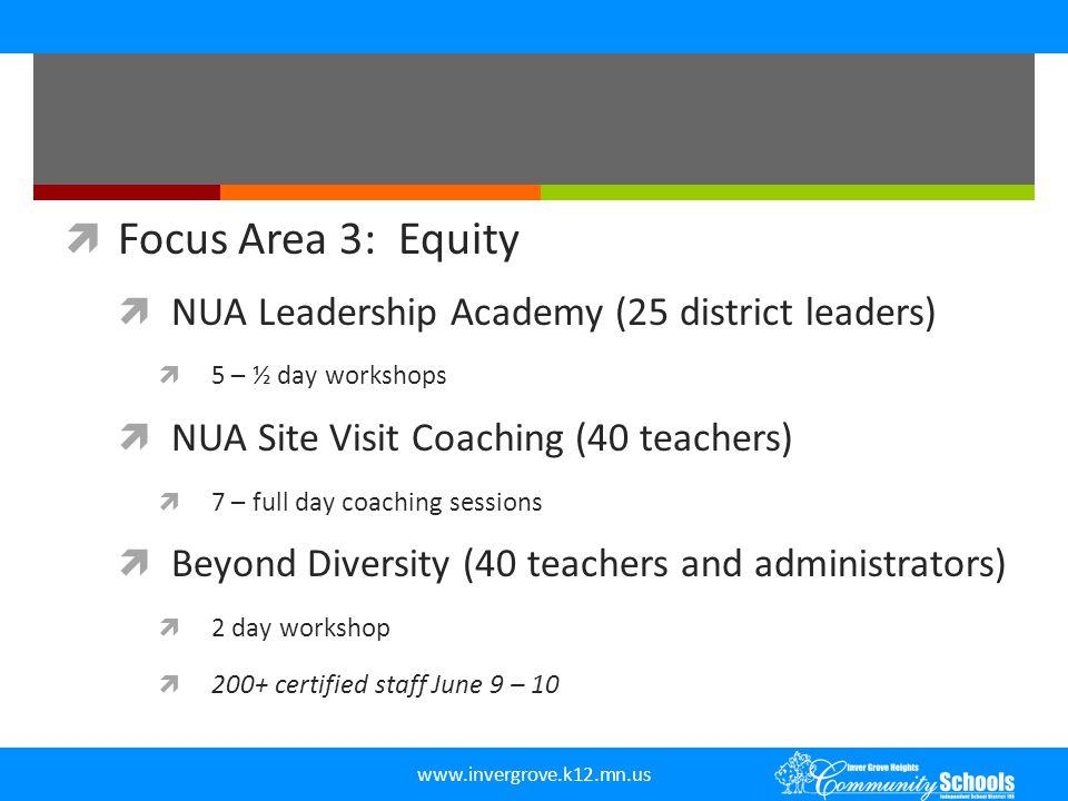 www.invergrove.k12.mn.us  Focus Area 3: Equity  NUA Leadership Academy (25 district leaders)  5 – ½ day workshops  NUA Site Visit Coaching (40 tea