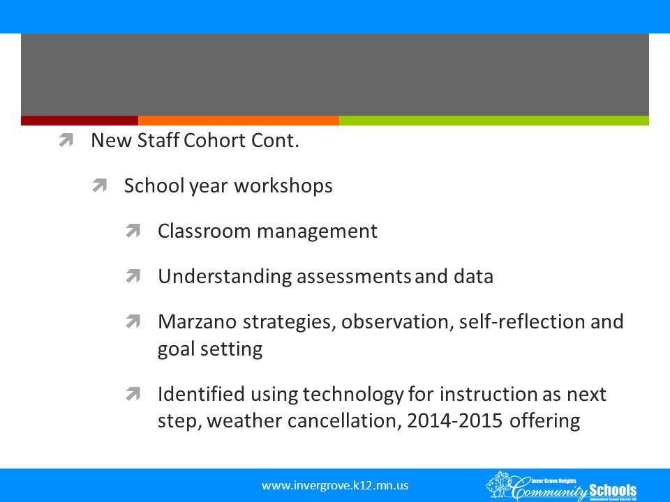 www.invergrove.k12.mn.us  New Staff Cohort Cont.  School year workshops  Classroom management  Understanding assessments and data  Marzano strate