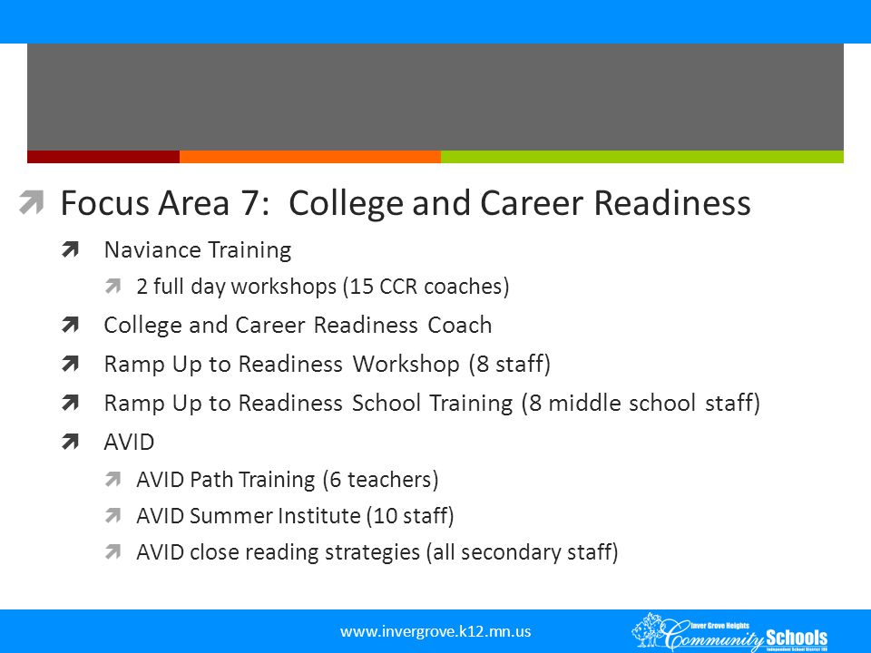 www.invergrove.k12.mn.us  Focus Area 7: College and Career Readiness  Naviance Training  2 full day workshops (15 CCR coaches)  College and Career