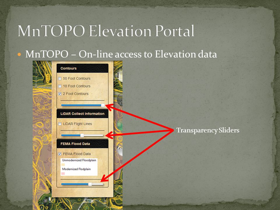 MnTOPO – On-line access to Elevation data Transparency Sliders