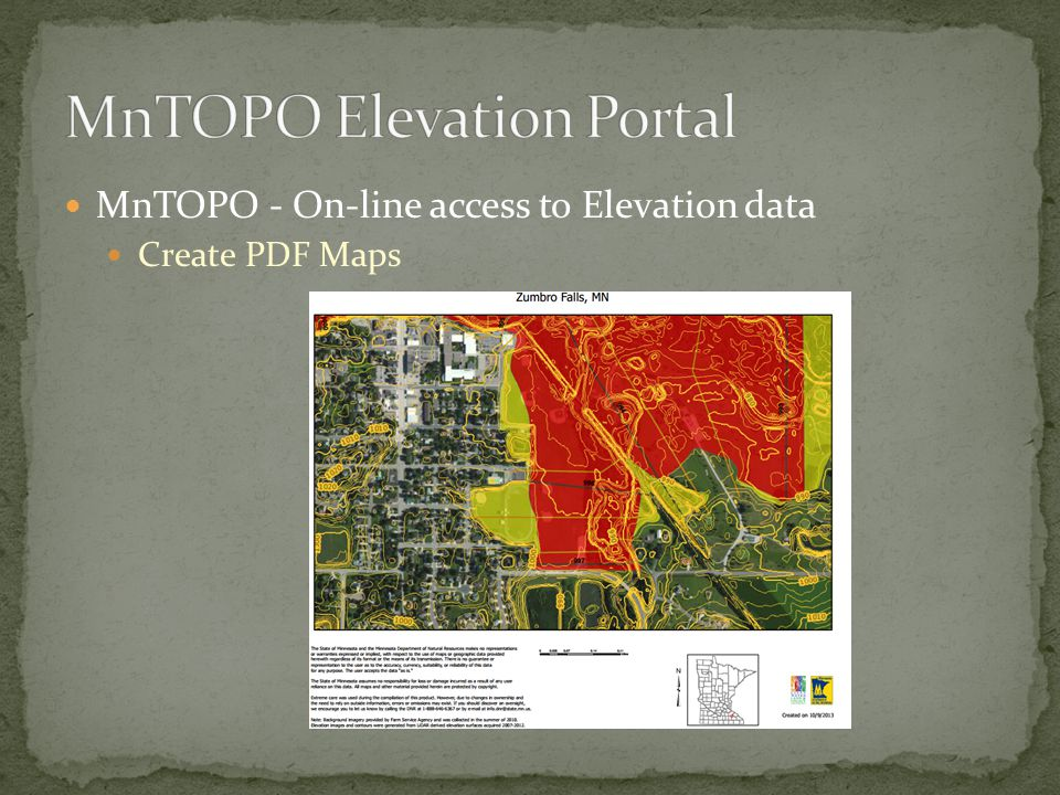 MnTOPO - On-line access to Elevation data Create PDF Maps