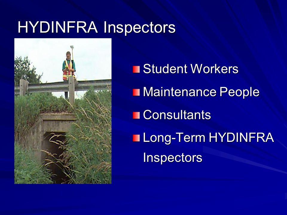 HYDINFRA Inspectors Student Workers Maintenance People Consultants Long-Term HYDINFRA Inspectors