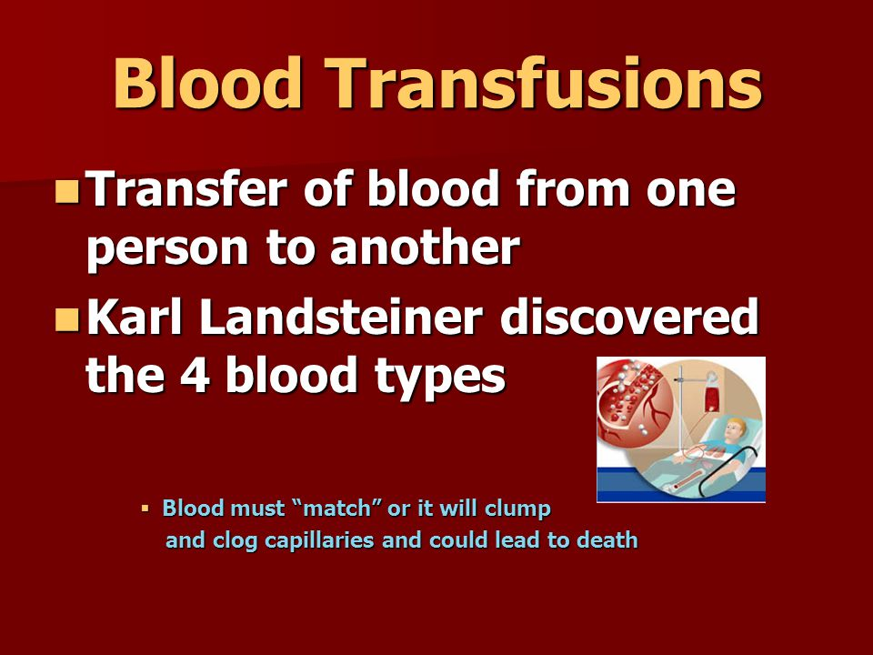 Blood Transfusions Transfer of blood from one person to another Transfer of blood from one person to another Karl Landsteiner discovered the 4 blood t