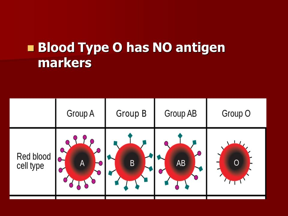 Blood Type O has NO antigen markers Blood Type O has NO antigen markers